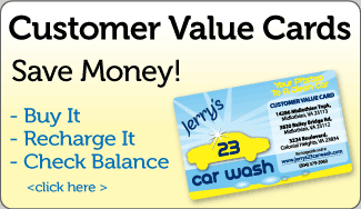 Jerry's 23 Car Wash Customer Value Cards